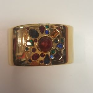 Kenneth Lane Polished Gold & Multi Gem Cuff